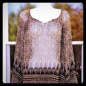 Lucky Brand Native Boho Print Semi sheer Tunic L